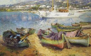 Картинка море, корабль, картина, лодки, Средиземноморский Порт, Gustave Deloye