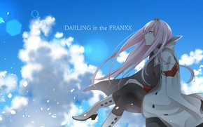 Обои аниме, Сидит, арт, Небо, девушка, Darling in the frankxx