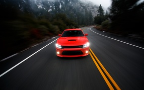 Картинка дорога, фотограф, Dodge, red, Charger, Larry Chen, R/T Scat Pack