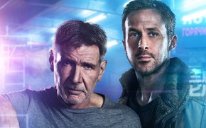Картинка фантастика, триллер, Harrison Ford, Харрисон Форд, Ryan Gosling, Райан Гослинг, Бегущий по лезвию 2049, Blade …