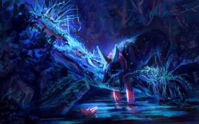 Обои вода, ночь, природа, волк, бумажный кораблик, by AlaxendrA