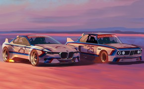 Картинка Concept, Авто, Рисунок, Машина, БМВ, Арт, Hommage, Bavarian, BMW 3.0 CSL, Hommage R, BMW 3.0, …