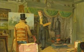 Обои масло, интерьер, картина, холст, Художник в Своей Студии, Энтони Оберман