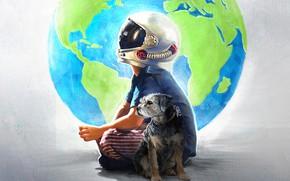 Обои собака, Wonder, постер, арт, драма, шлем, земной шар, Чудо, мальчик
