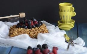 Картинка ягоды, малина, черника, чашки, торт, посуда, wood, ежевика, тортик, салфетка
