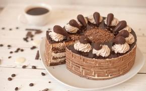 Картинка шоколад, торт, крем