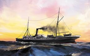 Картинка волны, корабль, Transatlantic Ships, britannia