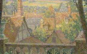 Картинка пейзаж, картина, Henri Le Sedaner, Анри Ле Сиданэ, На Крышах
