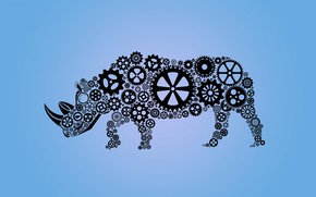 Картинка носорог, шестеренка, техно, абстракция