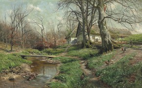 Обои Farmstead by a river, 1904, Peder Mørk Mønsted, Петер Мёрк Мёнстед, датский живописец, Danish realist ...