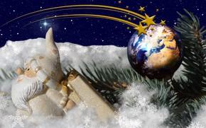 Картинка зима, снег, снежинки, праздник, игрушки, новый год, рождество, ель, ветка, звёзды, шарик, искры, ёлка, санта …