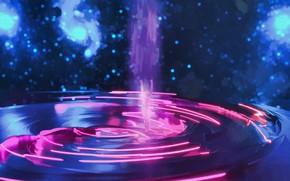 Картинка фиолетовый, космос, синий, блики, розовый, человек, круговорот, blue, pink, man, purple, spase