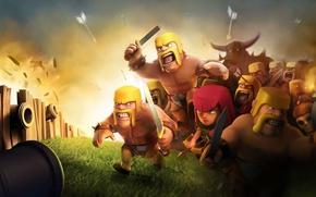 Картинка battlefield, skull, girl, sword, game, woman, man, fight, ken, blade, arrow, barbarian, bomb, cannon, Clash ...