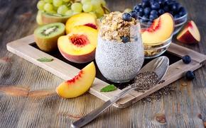 Картинка еда, завтрак, киви, черника, виноград, фрукты, нектарин, йогурт, овсяные хлопья