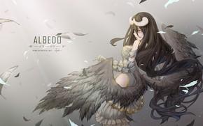 Обои девушка, крылья, аниме, перья, арт, рога, albedo, overlord