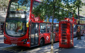 Обои bus, street, photo, red, architecture, архитектура, city, город, photography, англия, телефонная будка, unitedkingdom, red bus, ...