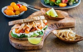 Картинка лук, хлеб, бутерброд, помидоры, разделочная доска, сыр фета