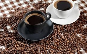 Обои кофе, еда, чашки, кофейные зерна