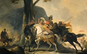 Обои Корнелис Трост, Александр Великий в Битве с Персами на Реке Граник, баталия, история, масло, картина, ...