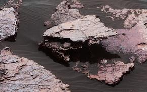 Обои песок, камни, Кьюриосити, фото, НАСА, Марс