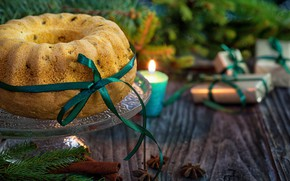 Обои подарки, праздник, ель, выпечка, ёлка, рождество, хвоя, свеча, новый год, кекс, бадьян, ленточка, специи, ветки, ...