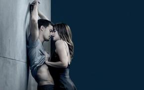 Обои Fifty Shades, страсть, поцелуй, пара, любовь, Jamie Dornan, Dakota Johnson, Дакота Джонсон