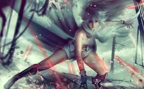 Картинка девушка, лучи, фантастика, волосы, стрельба, принцесса
