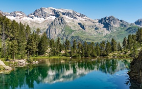 Картинка небо, солнце, деревья, горы, озеро, камни, Испания, Aragon, Benasque