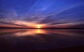 Картинка небо, вода, закат, Озеро