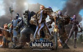 Картинка Genn Greymane, dwarf, Alliance, draenei, World of Warcraft, Anduin Wrynn, Battle for Azeroth, human, worgen, ...