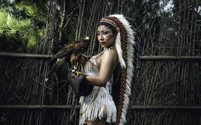 Картинка девушка, птица, азиатка, сокол
