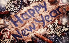 Картинка украшения, Новый Год, Рождество, сахар, орехи, корица, happy, Christmas, wood, New Year, Merry Christmas, Xmas, …