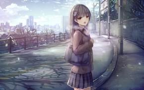 Картинка зима, арт, девочка