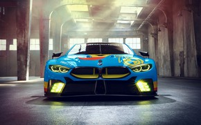 Картинка гоночное авто, вид спереди, 2018, GTE, BMW M8