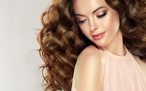 Картинка девушка, лицо, модель, волосы, блеск, макияж, помада, профиль, кудри