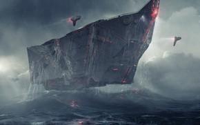 Картинка горы, транспорт, корабль, freighter, h5 heavy bulk cruiser