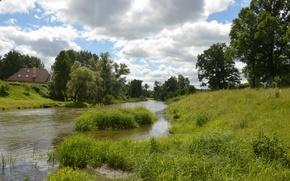 Картинка Природа, Облака, Трава, Деревья, Лето, Nature, Clouds, Grass, Речка, Summer, River, Trees