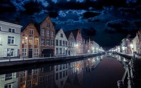 Обои город, ночь, Bruges by night