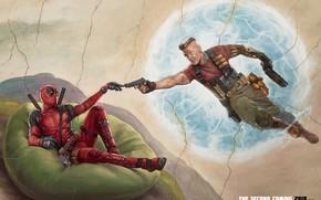 Картинка оружие, фантастика, пистолеты, рисунок, арт, костюм, Райан Рейнольдс, Ryan Reynolds, Deadpool, комикс, катаны, MARVEL, плюшевый …