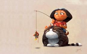 Картинка кот, настроение, мышка, арт, девочка, детская, Goro Fujita
