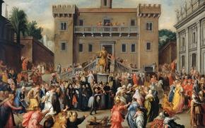 Картинка картина, история, мифология, Шествие Разгневанных Женщин в Риме, Pieter Isaacsz