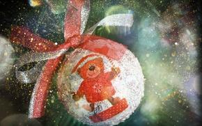 Картинка макро, шар, шарик, мишка, бантик, боке