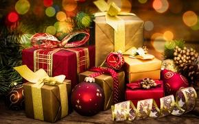 Обои bow, decoration, шары, celebration, box, balls, Рождество, gifts, holiday, merry christmas, подарки, Новый Год, шарики