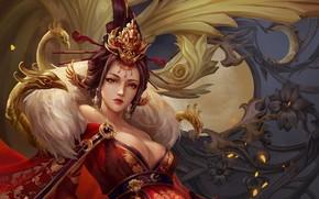 Картинка взгляд, девушка, цветы, узоры, фэнтези, арт, прическа, гейша, кимоно