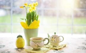 Картинка ваза, чайник, цветы, стол, чай, чашка, натюрморт, нарцисс