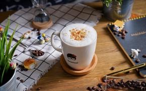 Обои кофе, чашка, кофейные зёрна, декор