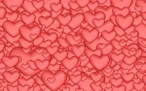 Обои Сердечки, Абстракция, Розовый Фон