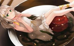 Картинка тарелка, Девочка, Аниме