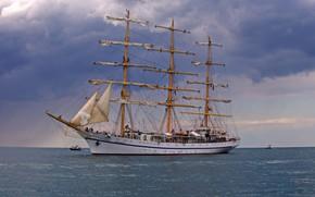 Картинка море, корабль, парусник, мачты