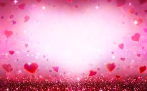 Обои bokeh, love, блестки, pink, romantic, сердечки, hearts, glitter